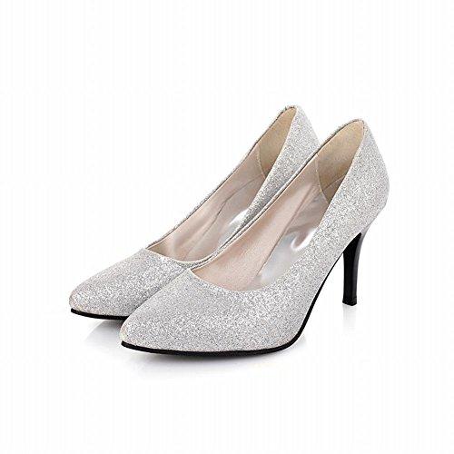 Carol Zapatos Fashion Mujeres Lentejuelas Puño De Punta Estrecha Sexy Stiletto Bombas De Tacón Alto Zapatos De Novia De Plata
