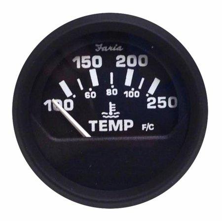 Faria Beede Instruments 12812 2 in. Euro Black Water Temperature Gauge44; 100-250 Fahrenheit (Metric Water Temperature Gauge)