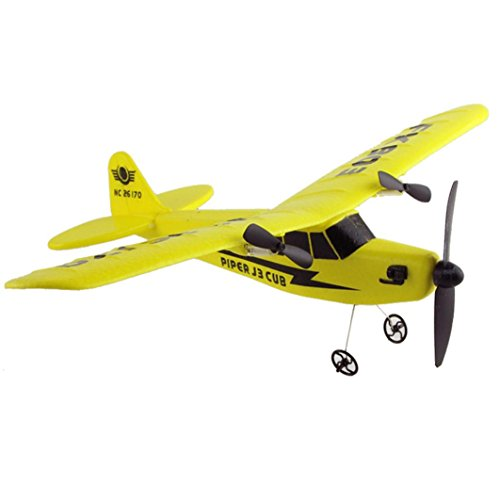 2 Channel Plane - RC Plane,Remote Control RC Helicopter Plane Glider Airplane EPP foam 2CH 2.4G Toys By Dacawin (Yellow)