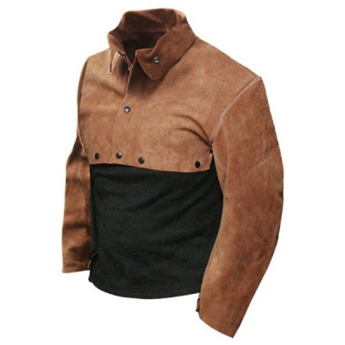 Bob Dale 60-1-202-L Premium Split Leather Welders Cape Sleeve Apron, Large, Brown