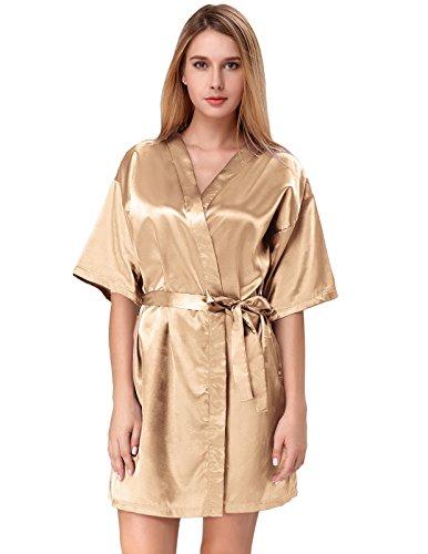 Women Pure Color Short Satin Kimono Robe for Bridesmaid Champagne Size M ZE51-4