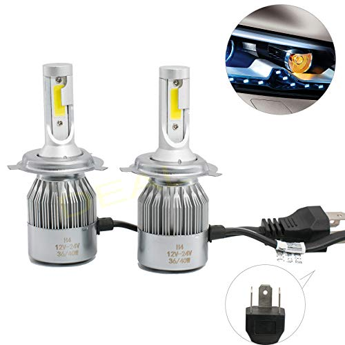 DEAL 2pcs H4/9003/HB2 6000K White 7200LM Aluminum Housing LED COB Bulbs Conversion Kit For Headlights High Low Beam Driving Fog Light DC 12V/24V IP67 Waterproof Pack of 2 Left+Right Replacement