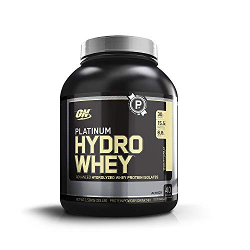 (OPTIMUM NUTRITION Platinum Hydrowhey Protein Powder, 100% Hydrolyzed Whey Protein Isolate Powder, Flavor: Velocity Vanilla, 3.5 Pounds)