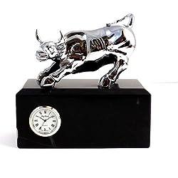 Bey-Berk International Silver Brass Bull Clock on Black Marble