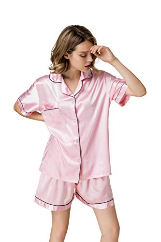 NANJUN Women's Satin Pajamas Sleepwear Short Button-Down Pj Set(Millennial Pink,XL)