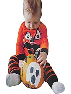 Baby Boys Girls Outfits Set,Halloween Baby Costumes,for 3-24 Months,4Pcs Infant Halloween Baby Bone Skull Print Romper+Pants+Hat+Gloves Set Clothes