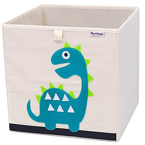 Hurricane Munchkin Collapsible Toy Storage Box | Cube Bin Organizer for Children Toys, Stuffed Animals, Books & Clothes (13 x 13 x 13) | Great for Nursery, Kids Bedroom & Playroom - Dinosaur