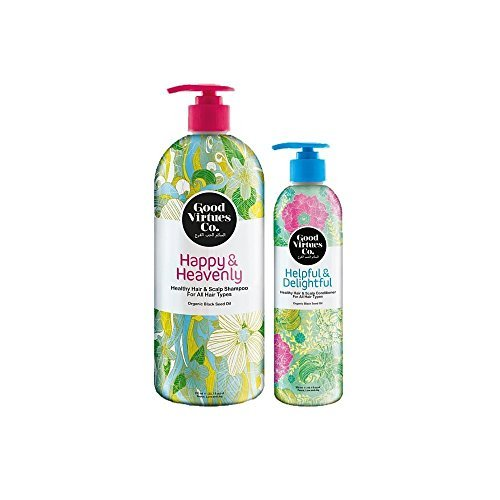 Good Virtues Co. Women Hair Care Clarifying Shampoo (23.7 & 2.7 oz) and Conditioner (10.1 oz) with Organic Black Seed Oil, for All Hair Types