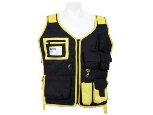 Vest Poly Mesh Safety - 3A Safety SME-S2350 High Visibility Mesh Vest with Velcro, Black with Yellow, Large/X-Large