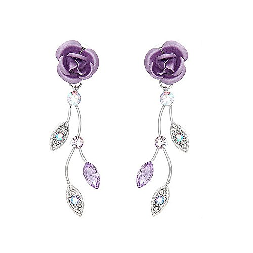 Glamorousky Violet Rose Earrings with Violet Austrian Crystals and Crystal Glass (767) (Violet Crystal Glass)