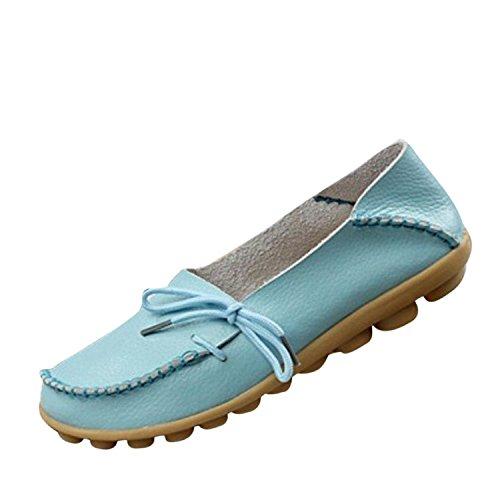 Scarpe Da Guida Donna Pelle Bovina Casual Mocassini Allacciati Scarpe Da Barca Flat Blue1
