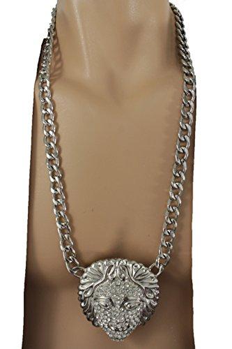 Modern Day Medusa Costume (TFJ Men Fashion Jewelry Necklace Metal Chain Links Long Strand Medusa Head Hip Hop Silver Color)