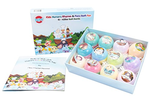 Bath Bombs for Kids | 12 x 4.25oz Organic Bath Bomb Gift Set | Including Matching Childrens Nursery Rhyme Book | Fizzy and Lush Fun for Kids of All Ages | Great for Birthdays, Holidays, and Christmas