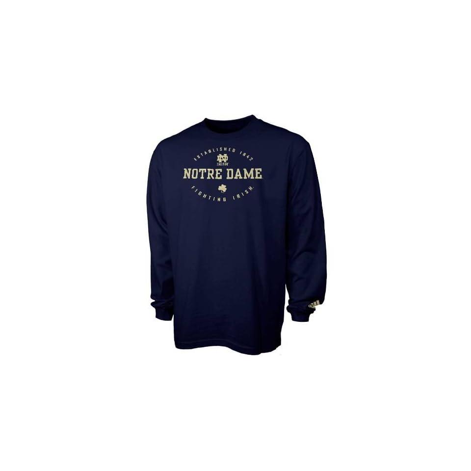 adidas Notre Dame Fighting Irish Navy Blue Renegade Long Sleeve T shirt