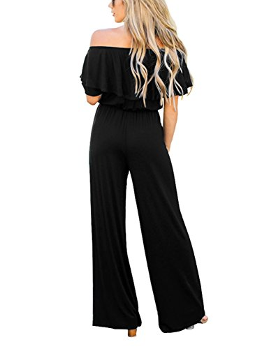 Lookbook Store Women's Sexy Off Shoulder High Waisted Ruffled Long Wide Leg Pants Black Jumpsuits Rompers Size L by Lookbook Store (Image #1)