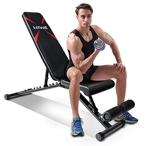 FirstE Adjustable Weight Bench, Portable Strength Training Bench, Flat Incline Decline Full Body Exercise Men/Women…