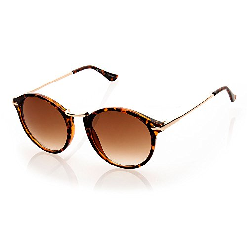 NYS Collection Raleigh Place Vintage Plastic Sunglasses, Tortoise Shell Frame/Brown - Sunglasses Shell Tortoise Round Vintage