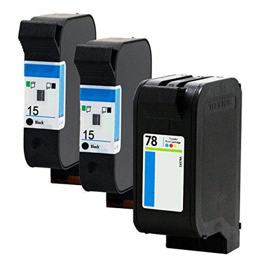 LiC-Store 3x (2 Black, 1 Tri-Color) Compatible For HP15 78 XL C6615A C6578A Deskjet 3920 Fax 1230 PSC 500 720 750 760 950 Officejet 5110 v40 v45 Inkjet Printer (3x (2 Black, 1 Tri-Color))