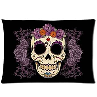 Bedroom Decor Custom Cool Sugar Skull Black Purple Pillowcase 20x30 two sides Zippered Rectangle PillowCases Throw Pillow Covers
