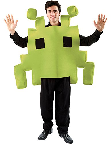 Adult Green Space Arcade Game - Space Invaders Costume