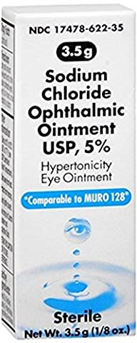 Akorn Sodium Chloride 5% Ophthalmic Ointment 3. 5 gm (Pack of 2) - 2% Ophthalmic Solution