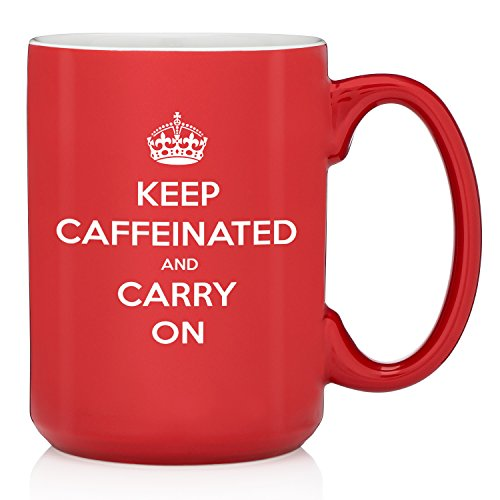 Keep Caffeinated And Carry On Funny Coffee Mug - Great Birthday Gift Idea For Student, Coworker, Boss, Employee, Nurse - Humorous Christmas Present For Men, Women, Mom, Dad, Son or Daughter - 13.5 oz