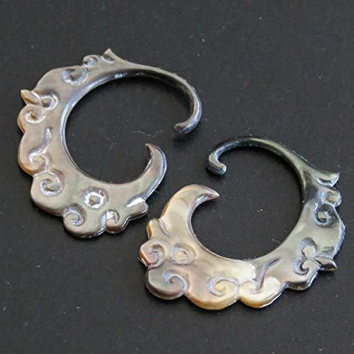 1 1/4'' 2.1MM 11.5GA BLACKLIP MOP Tribal HANDCARVED Body Jewelry Plug Earrings YE-3569