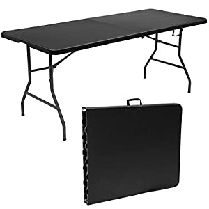 Giantex 6' Folding Table Portable Plastic Indoor Outdoor Picnic Party Dining Camp Tables (Black)
