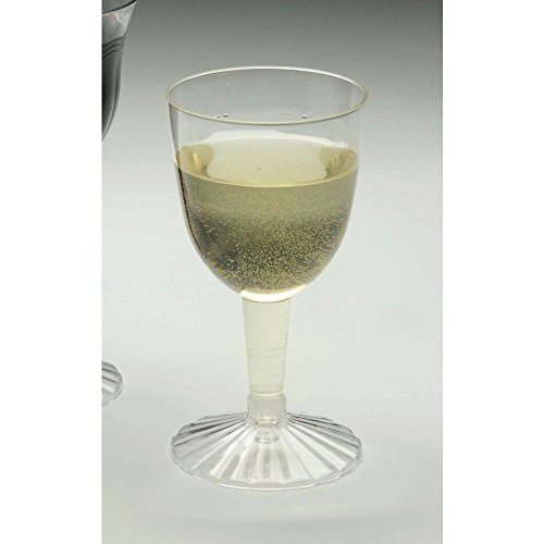 Disposable 5 oz Clear Plastic Wine Goblet Glass - 2 1/2
