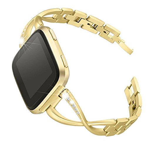 Outsta For Fitbit versa BK Watch Band, Luxury Alloy Crystal Stainless Steel Wristband Strap Band Accessories Smart Watch Bracelet Band Women Men (Gold) by Outsta