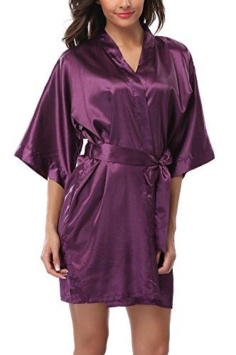 (ABC-STAR Womens Short Satin Kimono Robe for Wedding Bridal Party Bridesmaid Robe, Purple, XXL)