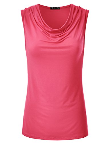 EIMIN Women's Cowl Neck Ruched Draped Sleeveless Stretchy Blouse Tank Top Coral L -