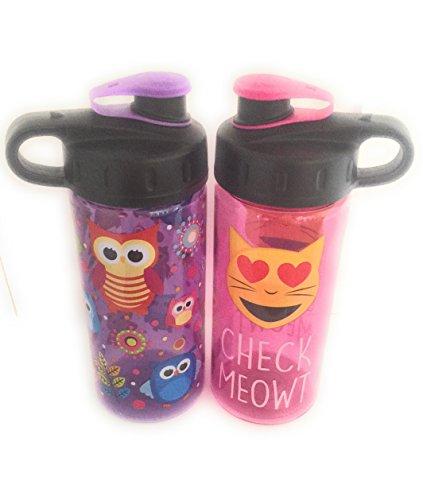 BACK TO SCHOOL 2 Pack Emoji 16 oz Water Bottles BPA Free Carry Loop Owl & Check Meowt Design by Emoji BPA Free Water Bottle