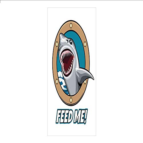 3D Decorative Film Privacy Window Film No Glue,Sea Animal Decor,Funny Vintage Quote with Hungry Hound Shark Head in Ship Window Humor Print,Multi,for Home&Office