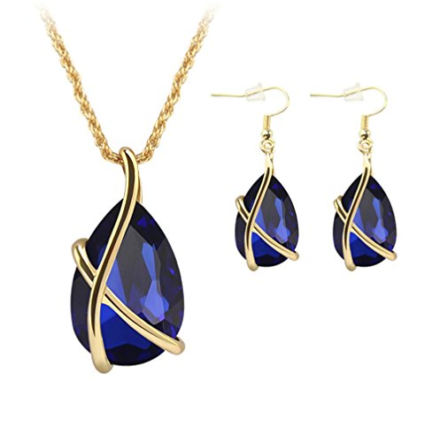 (ZINSBEDI Gold Plated Blue Crystal Stone Pendant Necklace Earrings Jewelry Set (Blue))