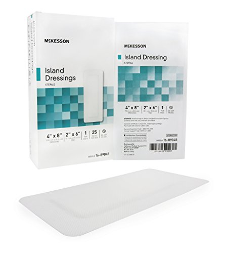 Sterile Gauze Pads Island Dressing (Adhesive Island Dressing McKesson 4 X 8 Inch Polypropylene / Rayon Rectangle 2 X 6 Inch Pad White Sterile - 1xEA)