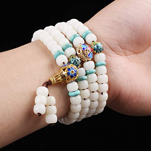 Oseni 6x8/7x9/8x10mm Natural White Bodhi Seed 108 Prayer Beads Bracelet Tibet Cloisonne Buddha Beads Bracelet Yoga Meditation J2387