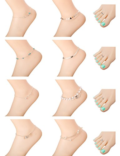 Tone Toe Ring Silver Silver (Milacolato 8Pcs Anklets for Women Girls Ankle Chains Bracelets Adjustable 4Pcs Toe Rings Set Beach Jewelry)