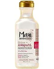 Maui Moisture Shine + Awapuhi Moisturizing Vegan Conditioner with Coconut Oils for Shiny Hair, Silicone-Free & Sulfate-Free Surfactant Aloe Conditioner to Hydrate & Detangle Hair, 13 fl oz