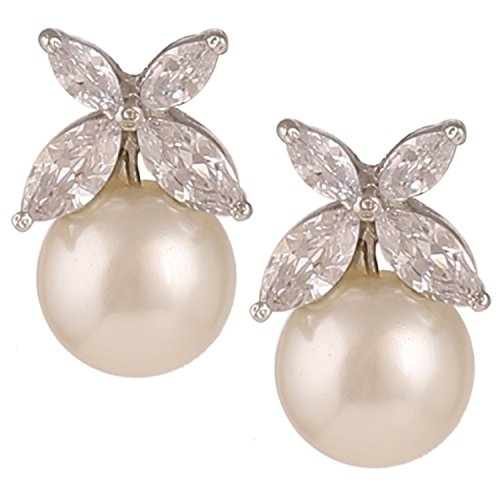 Swasti Jewels Flower Shaped Rhodium Plated Zircon and Pearls Statement Earrings for Women (White)