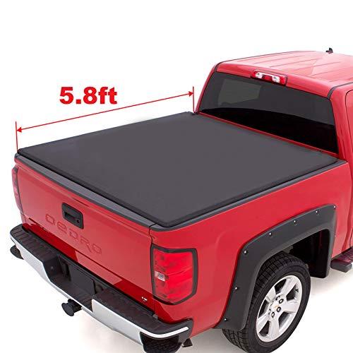 oEdRo TRI-FOLD Truck Bed Tonneau Cover Compatible with 2014-2018 Chevy Silverado/GMC Sierra 1500 | Fleetside 5.8' - Lock Gmc Pick