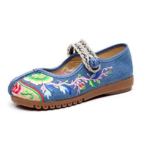 Casual Oxford Chaussures Semelle Toile De Enfiler Bleu Yefree Danse Ballerines Broderie À qXEv6v