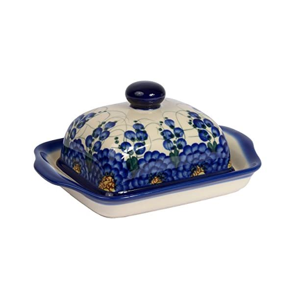 Traditional Polish Pottery, Handcrafted Ceramic Butter Dish with Lid, Boleslawiec Style Pattern, B.101.ARTS