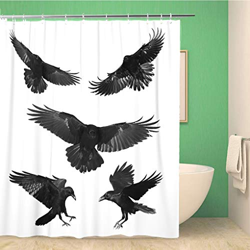 Awowee Bathroom Shower Curtain Crow Birds Mix Flying Common Ravens Corvus Corax Halloween 72x72 inches Waterproof Bath Curtain Set with Hooks -