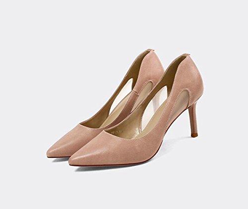 Xzgc Højhælede Sko, Sexet Fint Med Mode Hule Pegede Sko Elegant Lys Pink