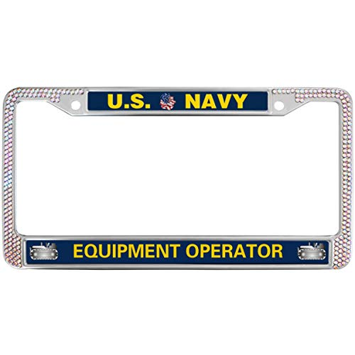 GND US Navy Equipment Operator License Plate Frame Pink Rhinstones,United States Navy Stainless Steel License Plate Frame Crystal Metal Chrome Pink License Plate Frame for US Vehicles