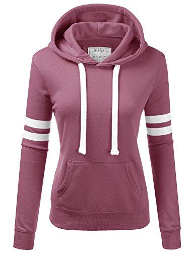 Sweatshirt Arms - NINEXIS Womens Long Sleeve Terry Hoodie Double Arm Line Pullover Sweatshirts Lightpurple L
