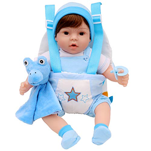 Aori Reborn Baby Doll Lifelike 18 inch Boy Doll Sets with Baby Doll Carrier