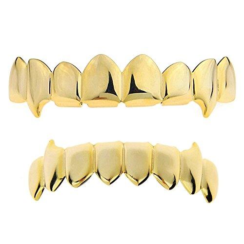 Fang Grillz Set 14k Gold Plated 8 Top Teeth Fangs Eight Bottom Hip Hop Vampire Mouth Grills