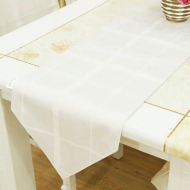Hilo tinte blanco camino de mesa: Amazon.es: Hogar